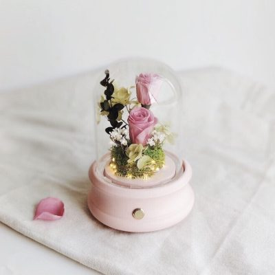 Preserved floral arrangement featuring 2 roses encased in glass dome with pink base and bluetooth speaker embedded inside