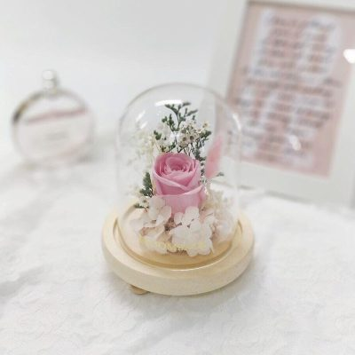 A small glass dome featuring 1 pink preserved rose, white preserved hydrangeas and preserved foliages.
