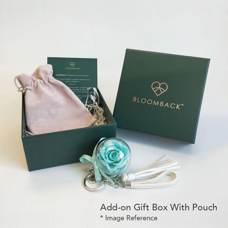 Opened Bloomback Green Gift Box showing suede pouch and flower charm