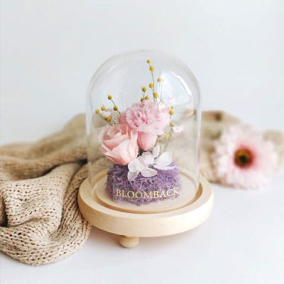 Preserved Flowers Dome Tender Love Pink