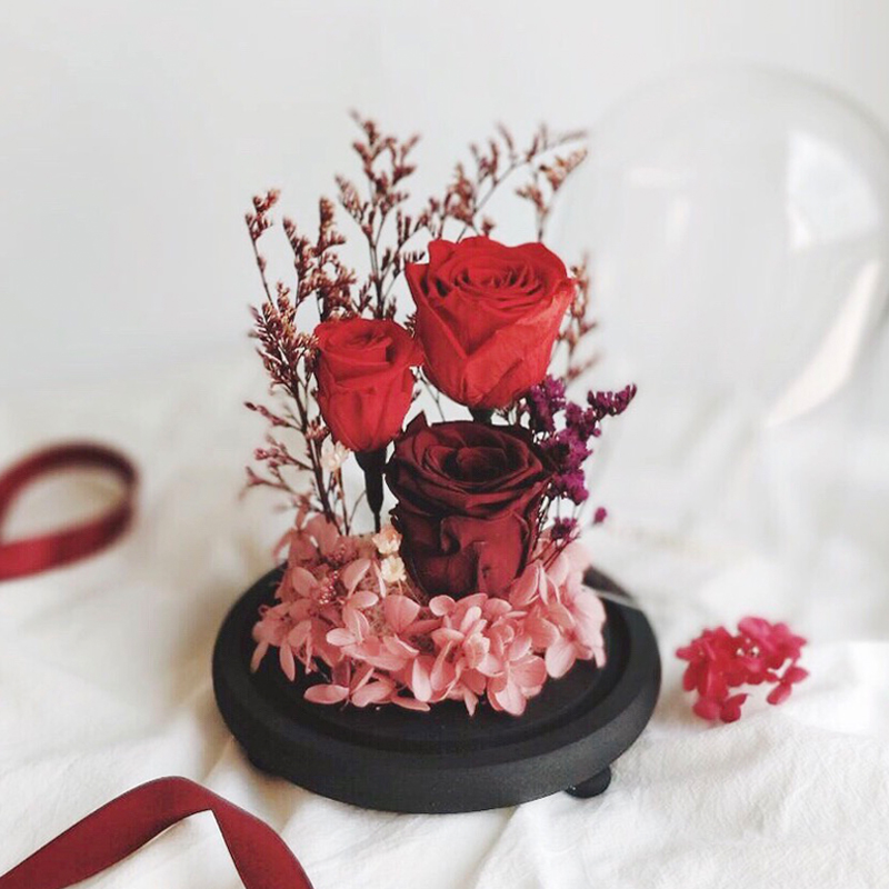 3 red preserved roses with open glass dome and black base