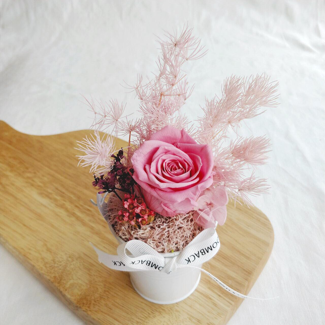 A small white bucket featuring 1 deep pink preserved rose, preserved foliages, preserved hydrangeas and BloomBack ribbon.
