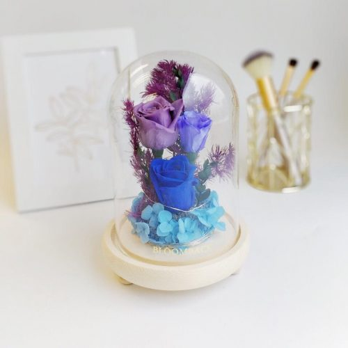A medium glass dome featuring 1 royal blue preserved rose, 1 violet preserved rose, 1 lavender preserved rose, blue preserved hydrangeas, preserved foliages.