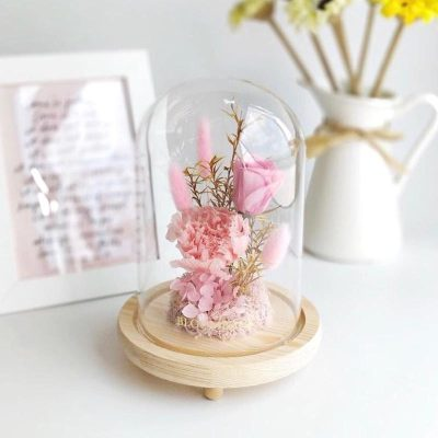 A medium glass dome featuring 1 pink preserved rose, 1 baby pink carnation, light pink preserved moss, pink preserved hydrangeas and preserved foliages.