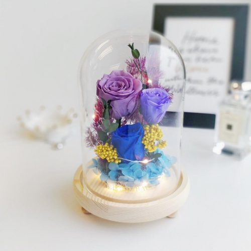 A medium glass dome featuring 1 royal blue preserved rose, 1 violet preserved rose, 1 lavender preserved rose, blue hydrangeas, preserved foliages, preserved moss and LED lights.