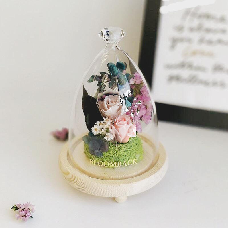 A diamond glass dome featuring 1 champagne preserved rose, 1 khaki preserved rose, green preserved moss and preserved foliages.