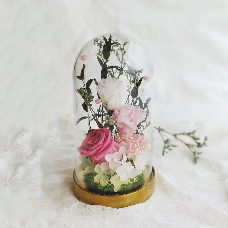 A medium tall glass dome with rustic gold base featuring 1 dark pink preserved rose, 1 white preserved rose , 1 light pink carnation, white preserved hydrangeas, light green preserved hydrangeas and preserved foliages.