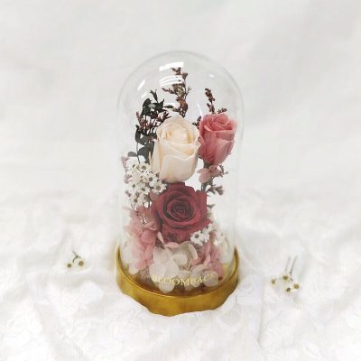 A medium tall glass dome with a rustic gold base featuring 1 red preserved rose, 1 pink reserved rose, 1 white preserved rose, pink and white preserved hydrangeas and preserved foliages.