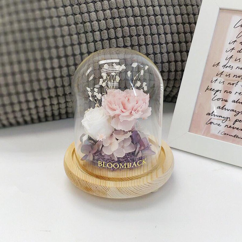A small glass dome featuring 1 white preserved rose, 1 ice pink carnation, purple hydrangeas, purple moss and preserved foliages.