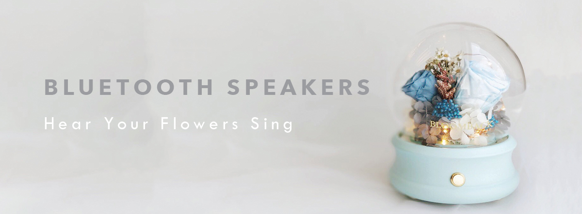 "3 blue roses in preserved floral arrangement with Bluetooth speaker embedded inside and words ""Bluetooth Speakers. Hear Your Flower Sing"""