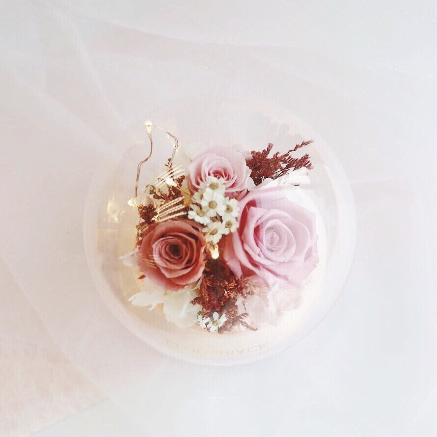 Top view of floral arrangement featuring 2 pink preserved roses encased in glass dome with bluetooth speaker embedded inside