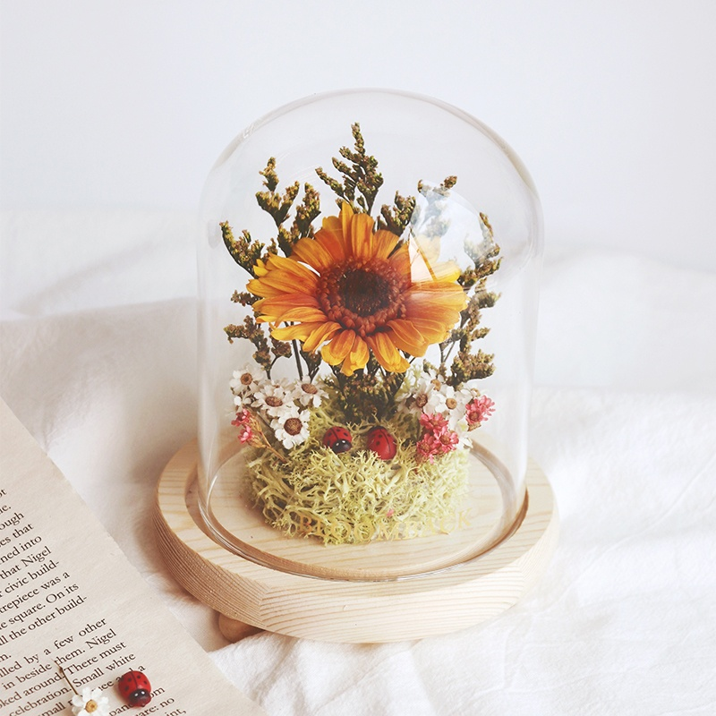 Preserved Yellow-Orange Gerbera encased in glass dome
