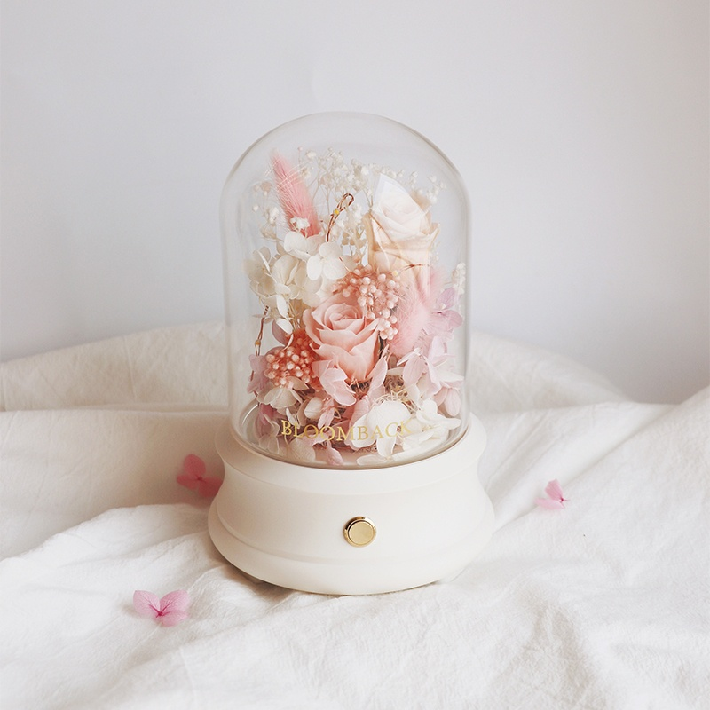 Preserved Flowers' Arrangement with Bluetooth speaker embedded inside and glass dome