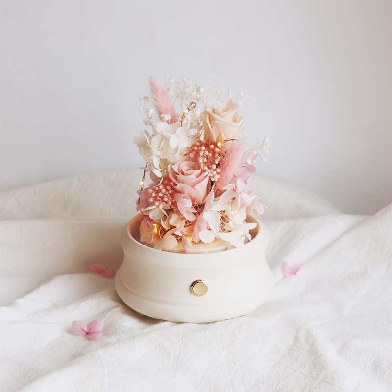 Preserved Flowers' Arrangement with Bluetooth speaker embedded inside with opened glass dome