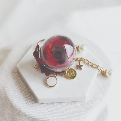 Red preserved rose encased in acrylic ball