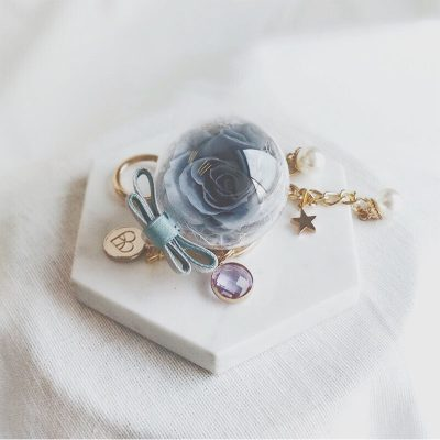Grey preserved rose encased in acrylic ball