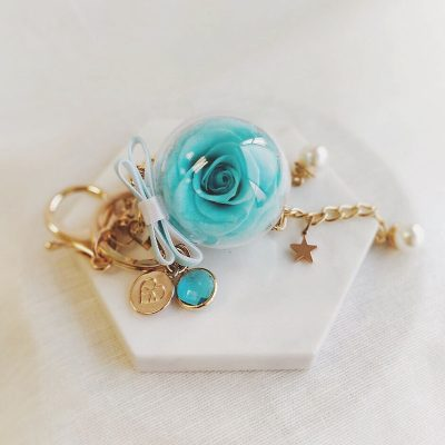 tiffany blue preserved rose encased in acrylic ball with birthstone