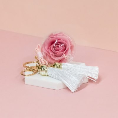 Everbloom Charm Sweet Pink Preserved Flowers Bagcharm