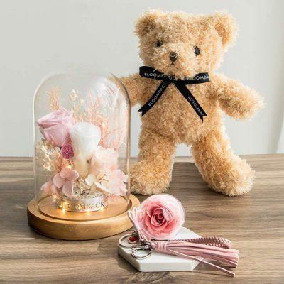 Light Of My Life Gift Set W Bear Dark Billy Button Flower