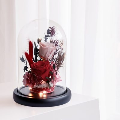 Because Of Your Love Preserved Flowers Glass Dome