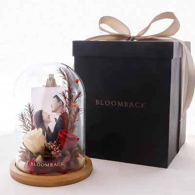 A Timeless Piece - Treasure   Personalised Preserved Flowers Glass Dome